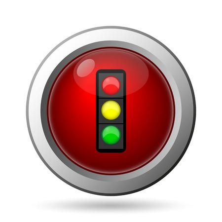 internet traffic: Traffic light icon. Internet button on white background. Stock Photo