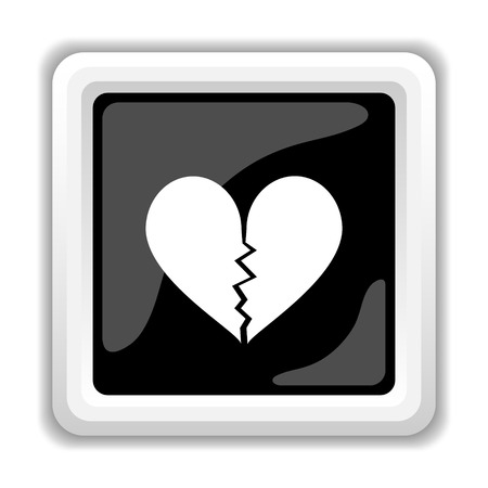 attract: Broken heart icon. Internet button on white background. Stock Photo