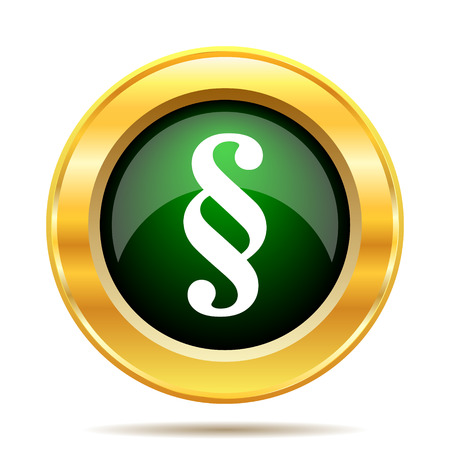 golden section: Paragraph icon. Internet button on white background. Stock Photo
