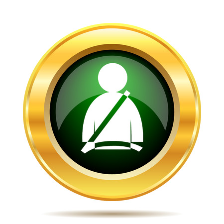 gold buckle: Safety belt icon. Internet button on white background.