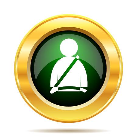 gold buckle: Safety belt icon. Internet button on white background.
