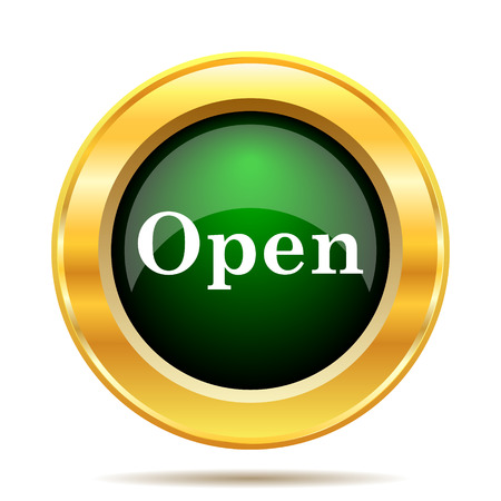 available time: Open icon. Internet button on white background.