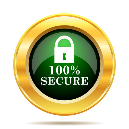 trusted: 100 percent secure icon. Internet button on white background. Stock Photo