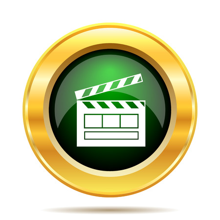 gold record: Movie icon. Internet button on white background.