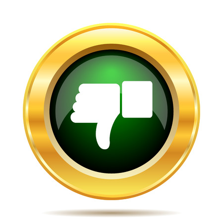 Thumb down icon. Internet button on white background. photo