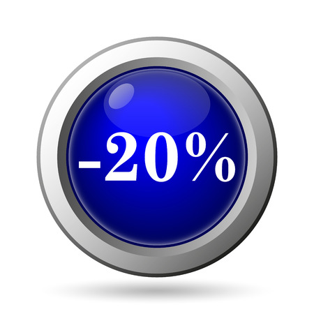 20 percent discount icon. Internet button on white background. photo