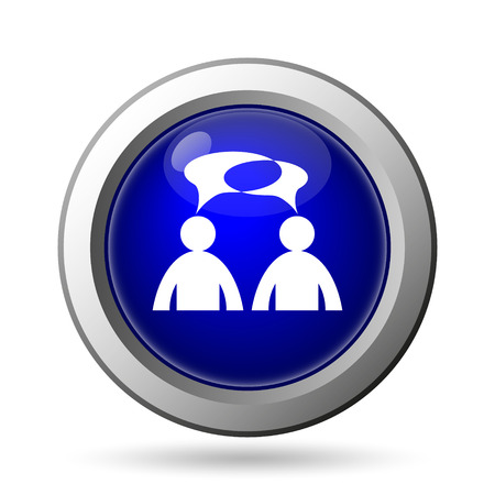 comment: men with bubbles Comment icon. Internet button on white background  Stock Photo
