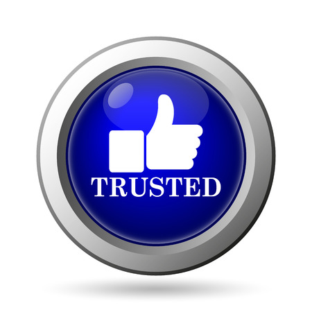 trusted: Trusted icon. Internet button on white background.
