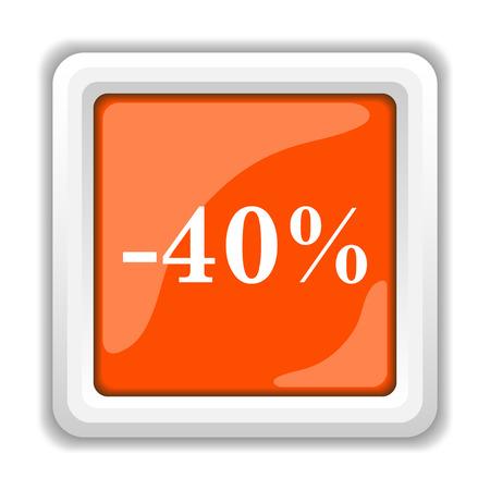 40 percent discount icon. Internet button on white background. photo