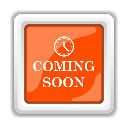 coming soon: Coming soon icon. Internet button on white background.