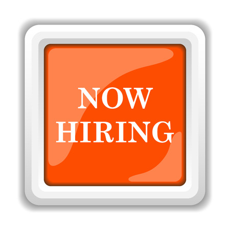 help wanted sign: Now hiring icon. Internet button on white background. Stock Photo