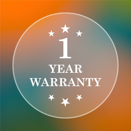 one year warranty: 1 year warranty icon. Internet button on colored  background. Stock Photo