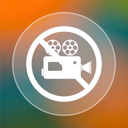 forbidden: Forbidden video camera icon. Internet button on colored  background.