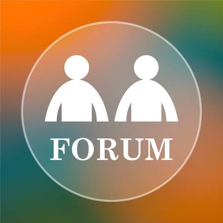 Forum icon. Internet button on colored  background.