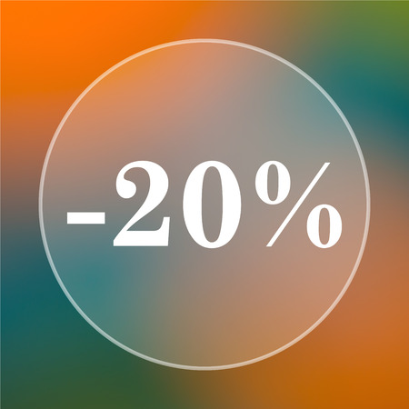rebate: 20 percent discount icon. Internet button on colored  background.