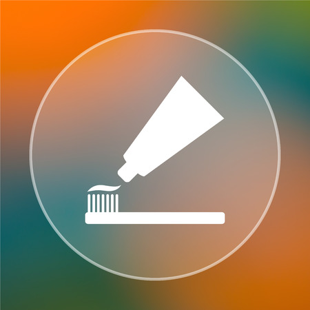 toothbrushing: Tooth paste and brush icon. Internet button on colored  background.
