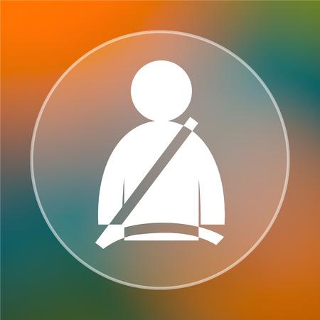cinturon seguridad: Icono del cinturón de seguridad. Botón de internet sobre fondo de color.