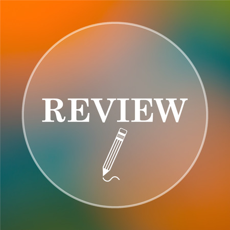review icon: Review icon. Internet button on colored  background.