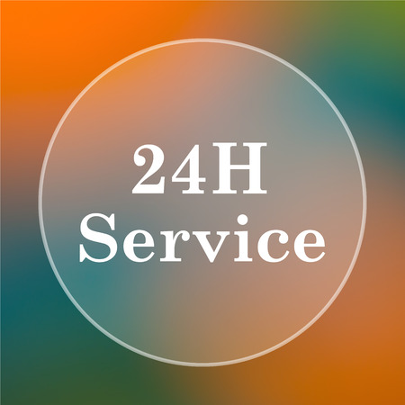aftersale: 24H Service icon. Internet button on colored  background.