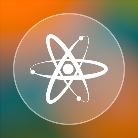 gamma radiation: Atoms icon. Internet button on colored  background. Stock Photo