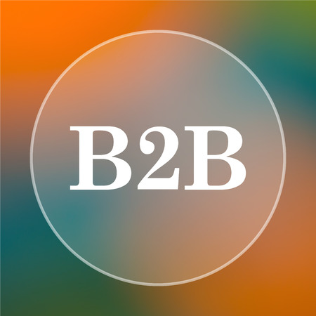 b2b: B2B icon. Internet button on colored  background.