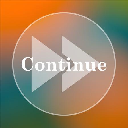 continue: Continue icon. Internet button on colored  background.