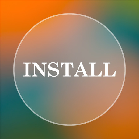 operative system: Install icon. Internet button on colored  background. Stock Photo