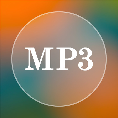 mp3: MP3 icon. Internet button on colored  background.