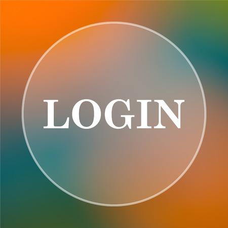 login icon: Login icon. Internet button on colored  background. Stock Photo