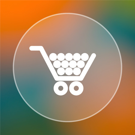 Shopping cart icon. Internet button on colored  background. photo