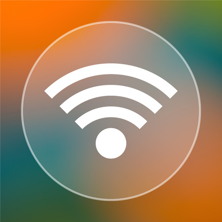 Wireless sign icon. Internet button on colored  background. photo