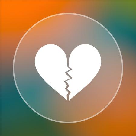 delusion: Broken heart icon. Internet button on colored  background. Stock Photo