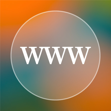 www icon: WWW icon. Internet button on colored  background.