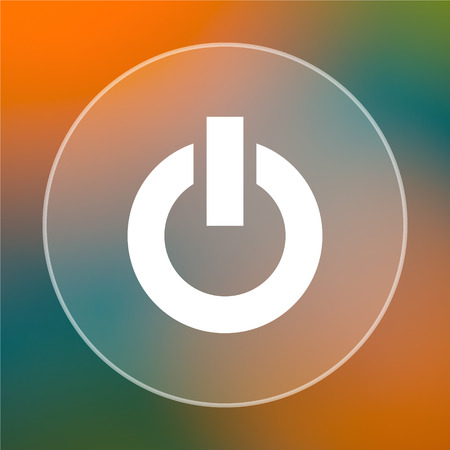 clean off: Power button icon. Internet button on colored  background.