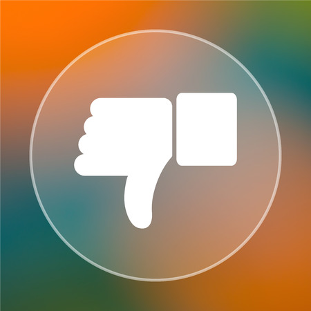 thumb down: Thumb down icon. Internet button on colored  background. Stock Photo