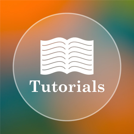tutoriels: Tutoriels ic�ne. bouton Internet sur un fond color�.