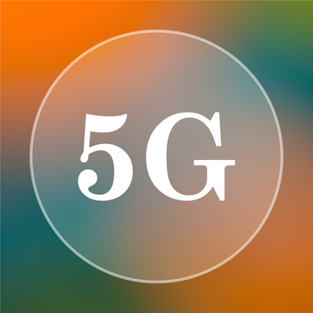 5g: 5G icon. Internet button on colored  background. Stock Photo