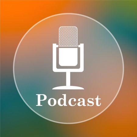 Podcast icon. Internet button on colored  background.