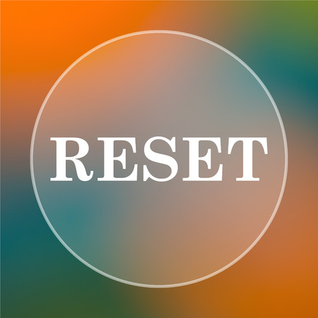 redesign: Reset icon. Internet button on colored  background. Stock Photo