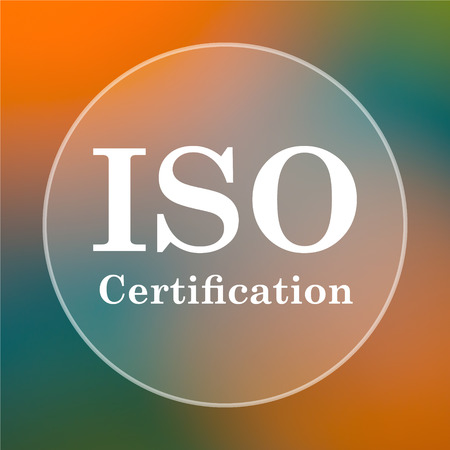 certification: ISO certification icon. Internet button on colored  background.