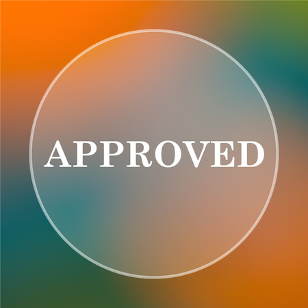 approved icon: Approved icon. Internet button on colored  background.