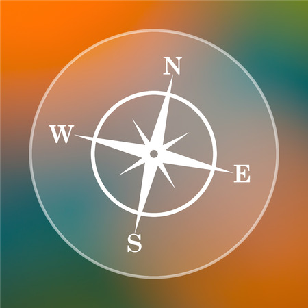 Compass icon. Internet button on colored  background. photo