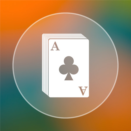 Deck of cards icon. Internet button on colored  background. photo
