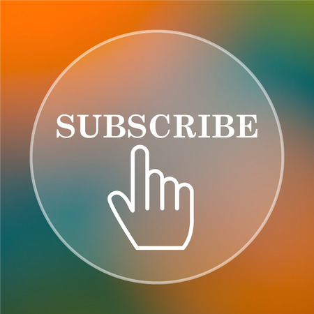 subscribing: Subscribe icon. Internet button on colored  background.
