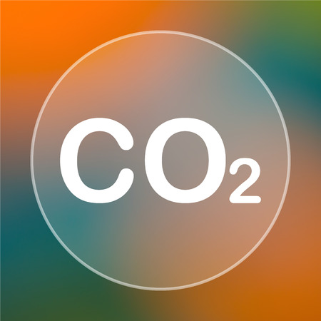 co2: CO2 icon. Internet button on colored  background.