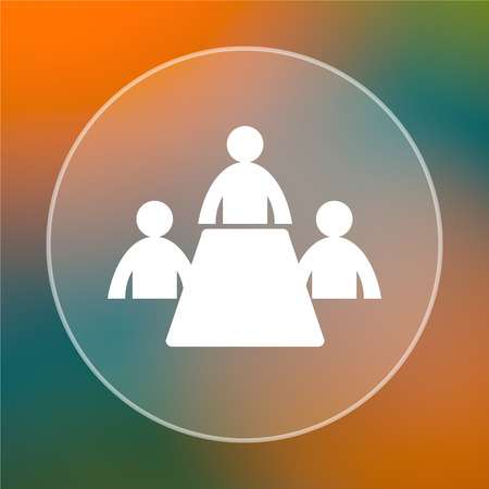 Meeting room icon. Internet button on colored  background. photo