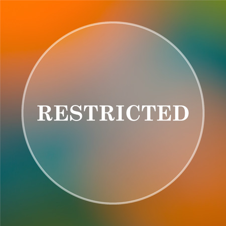 restricted icon: Restricted icon. Internet button on colored  background.