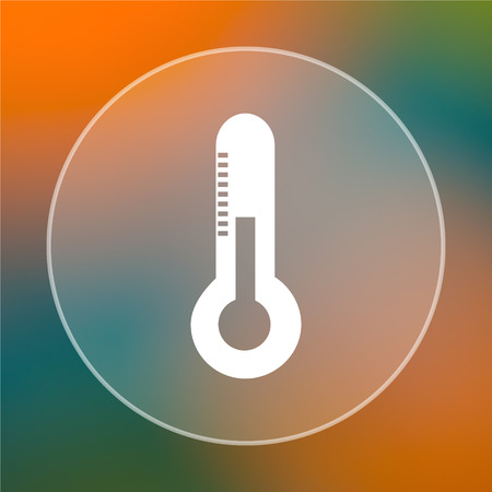 rising temperature: Thermometer icon. Internet button on colored  background.