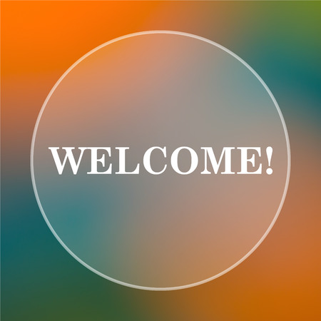 bill board: Welcome icon. Internet button on colored  background.