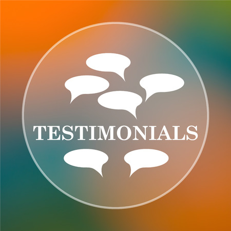 investigations: Testimonials icon. Internet button on colored  background. Stock Photo
